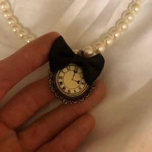 Jewelry - Pearl necklace Clock Pendant steampunk Lolita